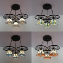 Antique Stylish Craftsman Pendant Light 3 Lights Stained Glass Hanging Light with Wheel for Bar