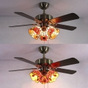 Tiffany Remote Control LED Ceiling Fan 3 Heads Metal Semi Ceiling Mount Light for Living Room