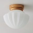 Living Room Umbrella Flush Mount Light Fluted Glass One Light Modern Stylish White Ceiling Lamp