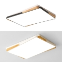 Nordic Black/White Flushmount Light 2-Tier Rectangle Acrylic Ceiling Lamp for Study Room