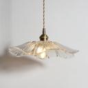 1 Light Scalloped Edge Hanging Light Modern Clear Glass Suspension Light for Living Room Kitchen