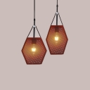 Restaurant Satchel Shape Pendant Light with Mesh Screen One Light Creative Brown Suspension Light