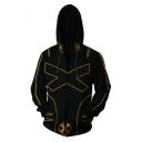 Popular Comic Letter X Cosplay Costume Long Sleeve Black Zip Up Casual Hoodie
