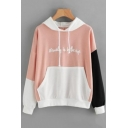 Beauty Is in the Eye Letter Print Color Block Long Sleeve Loose Leisure Hoodie