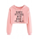 Street Letter KANYE ATTITUDE Pattern Basic Long Sleeve Cropped Hoodie