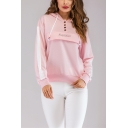 Simple Letter SUNFLOWER Four-Button Front Stripe Long Sleeve Pink Casual Hoodie