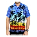 Mens Summer New Trendy Holiday Tropical Coconut Print Short Sleeve Beach Hawaiian Shirt