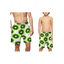 Summer Trendy Tropical Fruit Print Drawstring Waist Parent-Child Casual Beach Swim Trunks