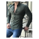 Mens Fashion Vertical Stripe Printed Long Sleeve Slim Fitted Button Up Shirt