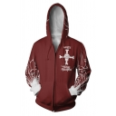 Fashion Comic Cosplay Costume Long Sleeve Zip Up Red Hoodie