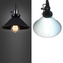 Metal Conical Suspension Light 1 Light Industrial Hanging Light with Swivel Joint in Black/White for Warehouse