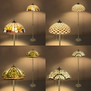 Tiffany Stylish Dome Floor Lamp Two Lights Stained Glass Standing Light for Bedroom Study Room