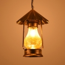 Single Light Kerosene Suspension Light Antique White/Yellow Glass Hanging Light in Brass for Kitchen