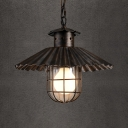 Industrial Scalloped Edge Pendant Light with Wire Frame 1 Light Brown Pendant Lamp for Bar Cafe