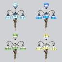 Tiffany Pretty Girl Floor Lamp Art Glass 4 Lights Blue/Green/Sky Blue/Yellow Floor Light for Restaurant