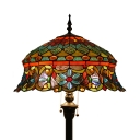 Living Room Crown Floor Light Stained Glass 2 Lights Antique Style Floor Lamp with Jewelry