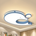Dolphin Shaped LED Ceiling Mount Light Animal Metal Ceiling Lamp in Warm/White for Kid Bedroom