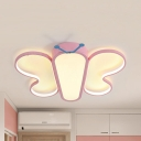Pink Butterfly Ceiling Lamp Cartoon Metal LED Flush Mount Light in Warm/White for Girls Bedroom