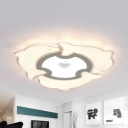 Acrylic Three Dolphin Ceiling Fixture Living Room Animal LED Flush Ceiling Light in Warm/White