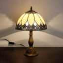 Vintage Tiffany Bowl Desk Light 1 Light Stained Glass Table Light in Beige for Living Room