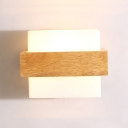 Modern Wood Wall Light Acrylic Shade with Nature Wood Base for Bedroom and Corridor