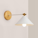 Rotatable Iron Cone Wall Light 1 Head Contemporary Sconce Light in White for Study Room