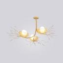 Nest Living Room Chandelier with Egg Aluminum Three Lights Creative Modern Hanging Light in Gold