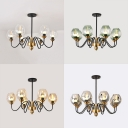 Living Room Oval Chandelier Hammer Glass 6/8 Lights Contemporary Black Hanging Light