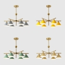 Living Room Chandelier Modern 6 Light Gray/Yellow/Green Saucer Ceiling Fixture in Gold Finish