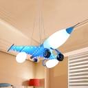 Metal Glass Airplane Ceiling Pendant Kids Cartoon Pendant Light in Blue for Nursing Room