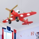 Propeller Airplane Kindergarten Hanging Light Metal Modern Third Gear/White Lighting Pendant Light in Blue/Red/Yellow