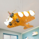 Metal Airplane LED Suspension Light Kids Cool LED Pendant Light in Blue/Red/Yellow for Kindergarten