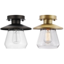 Clear Glass Flush Ceiling Light One Light Industrial Ceiling Light in Aged Brass/Bronze for Hallway