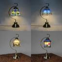 Deer/House/Mediterranean/Sailboat Desk Light Single Light Tiffany Stylish Art Glass Table Light for Bedroom