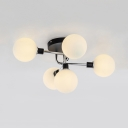 Nordic Style Black Semi Ceiling Mount Light Orb 5/9 Lights Amber/Milk/Smoke Glass Ceiling Lamp for Bedroom