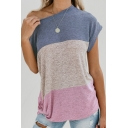 Trendy One Shoulder Color Block Short Sleeve Twist Hem Casual Loose T-Shirt