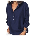 Summer Womens Trendy Solid Color Long Sleeve Button Front Casual Loose Shirt
