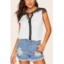 Chic Sheer Lace Patched Tied Round Neck White Chiffon Blouse Top