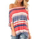 Womens Summer Trendy Colorful Striped Printed Cold Shoulder Twist Hem Loose Longline T-Shirt