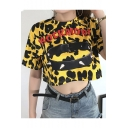 Summer Cool Yellow Camo Letter ROCK MORE Printed Round Neck Short Sleeve Crop T-Shirt