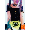 Girls Summer Cute Stringy Selvedge Trim Off the Shoulder Colorful Button Down Black Crop Tee