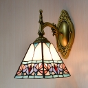 Tiffany Style Conical Wall Light Stained Glass 1 Light Carved Sconce Light for Bathroom