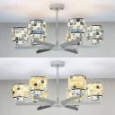 Blue/Yellow Drum Pendant Lighting 6 Lights Mosaic Glass Shell Chandelier for Bedroom Hotel