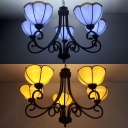 Glass Petal Hanging Lamp Dining Room Restaurant 5 Lights Tiffany Style Chandelier in Blue/Yellow