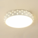 Simple Style Slim Panel Flush Light Acrylic Third Gear Ceiling Light with Crystal Decoration for Hallway