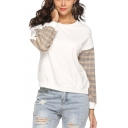 New Stylish Women's Patched Long Sleeve Round Neck Casual Pullover Sweatshirt