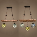 Tiffany Style Rustic Star Chandelier Stained Glass Wood 2/3 Lights Pendant Light for Hallway