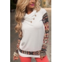 White Cowl Neck Long Sleeve Tribal Print Button Detail Tee for Women