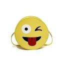 Cute Cartoon Emoji Printed Yellow Round Crossbody Bag 17*5*17 CM