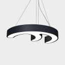 Creative Black/Yellow Suspension Light Abstract Shape Eye-Caring Aluminum LED Hanging Light for Bedroom